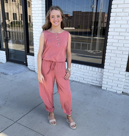 Brandy Wooden Button Jumpsuit in Coral