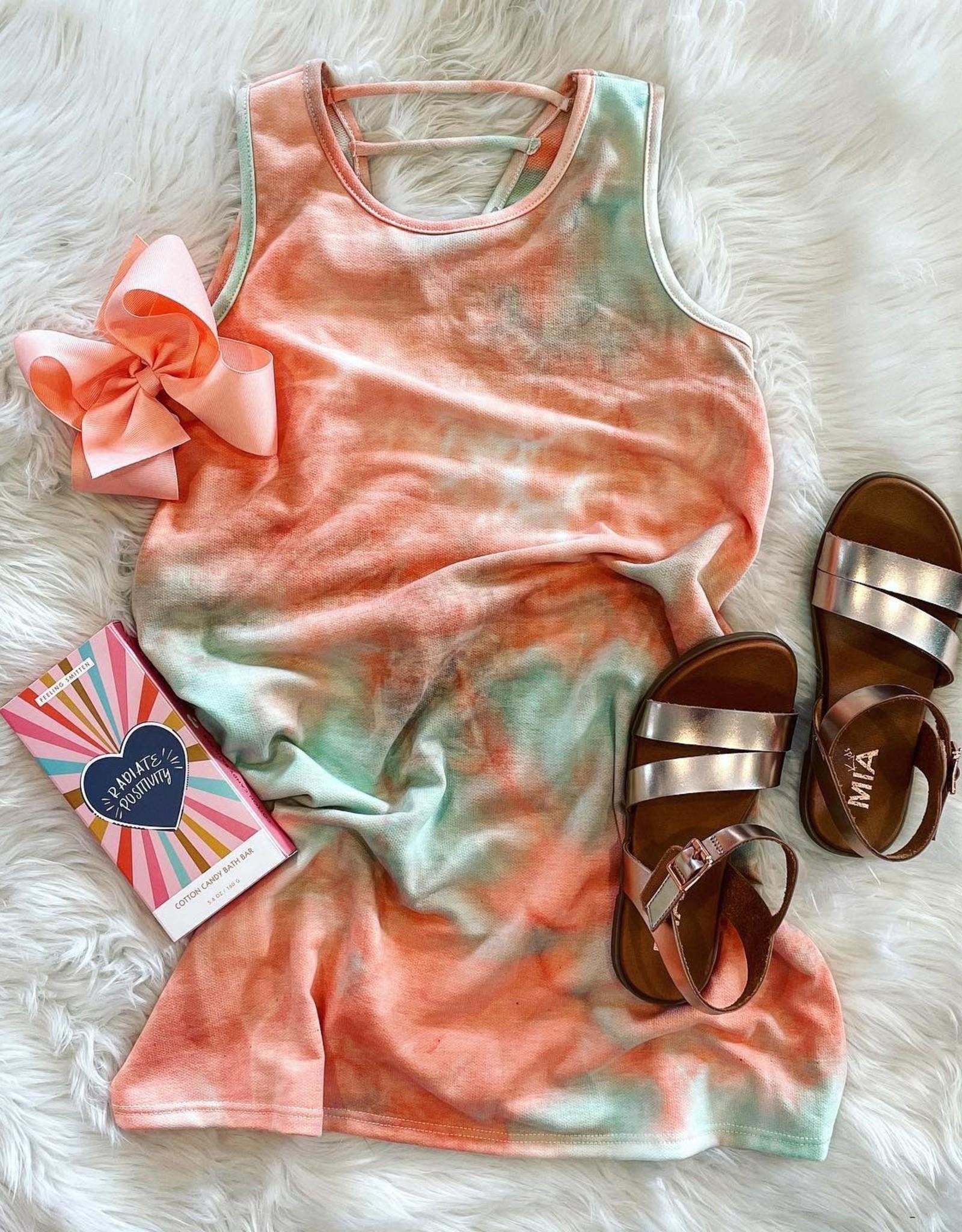For All Seasons Gracen Dress in Peach TieDye