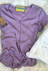 Madison Waffle Knit Top in Lavender