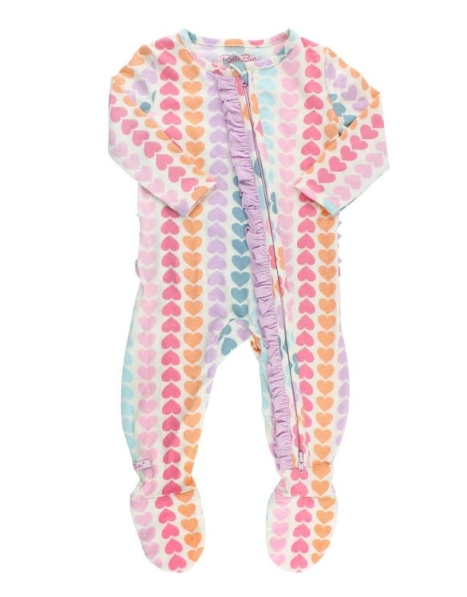 RuffleButts Rainbow Hearts Snuggly Ruffled Footed Pajamas