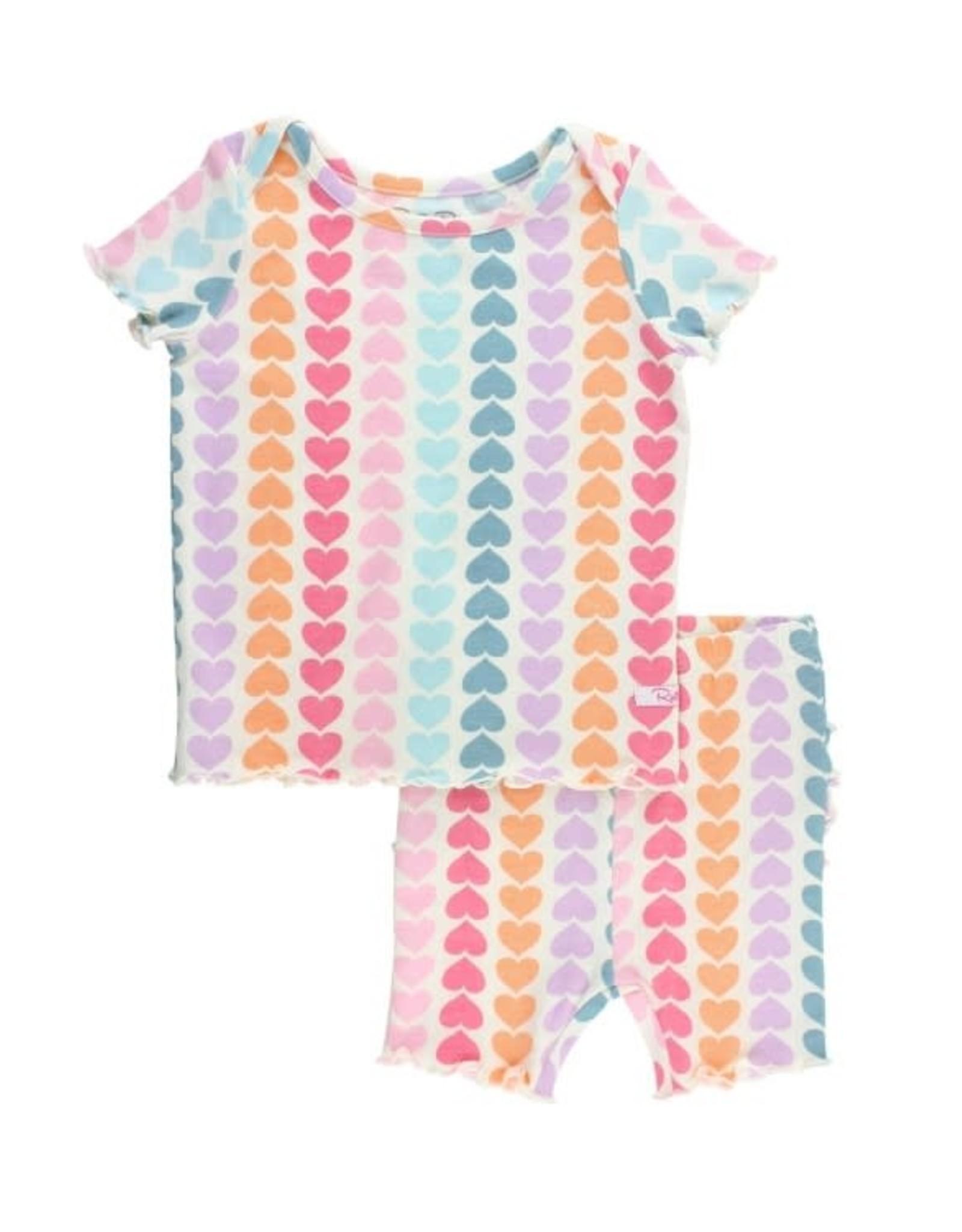 RuffleButts Rainbow Hearts Snuggly 2pc Ruffled Pajamas