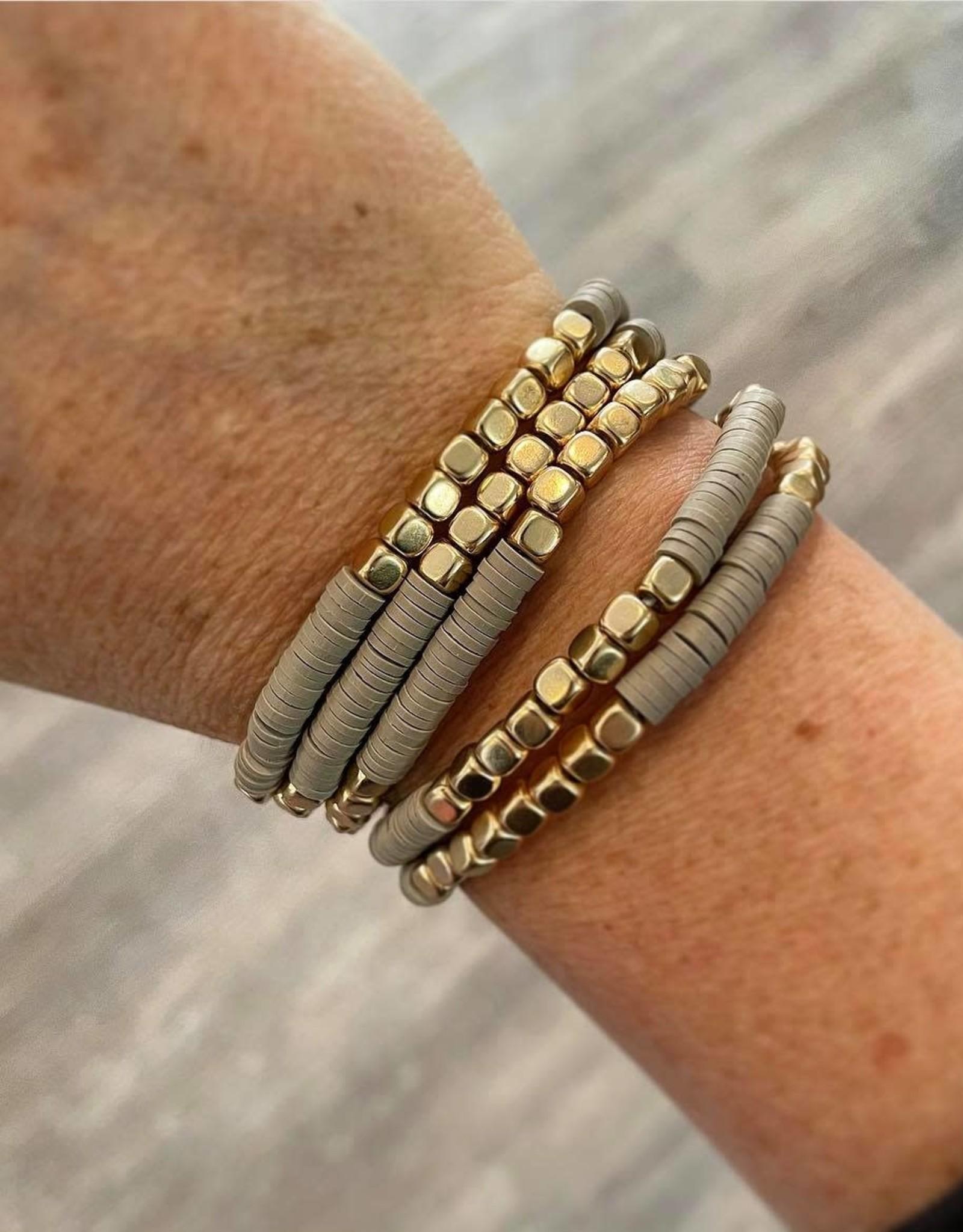 Kate Stretch Bracelet Set in Beige