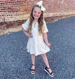 Hayden Peyton Ruffle Sleeve Knit Henley Dress in Oatmeal