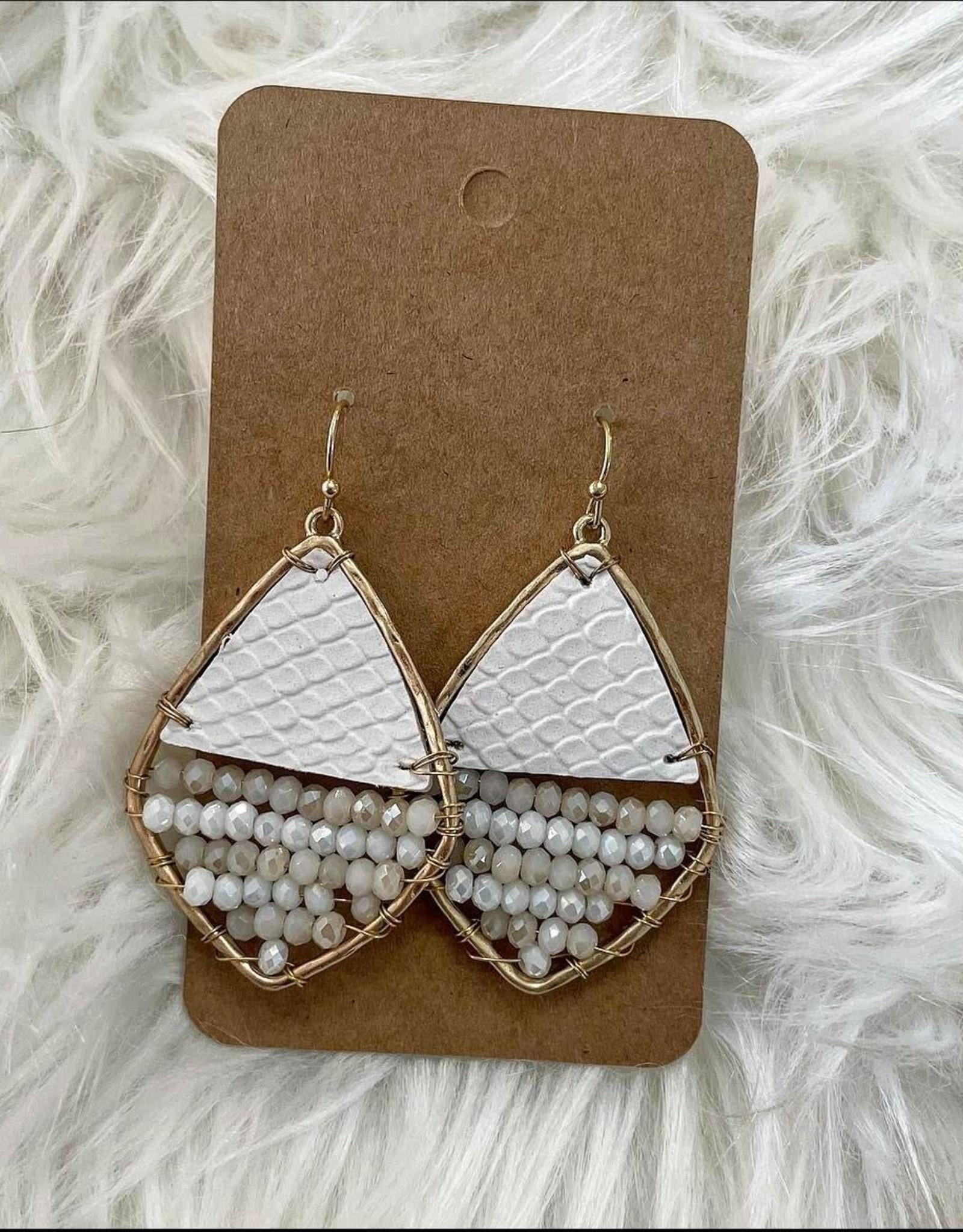 Leather & Bead Rhombus Earring