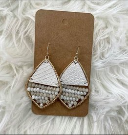 Leather & Bead Rhombus Earring