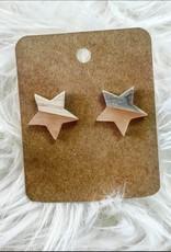 Wood Star Earring in Pink