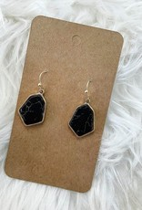 Hexagon Stone Earring in Black