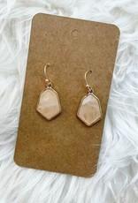 Hexagon Stone Earring in Pink