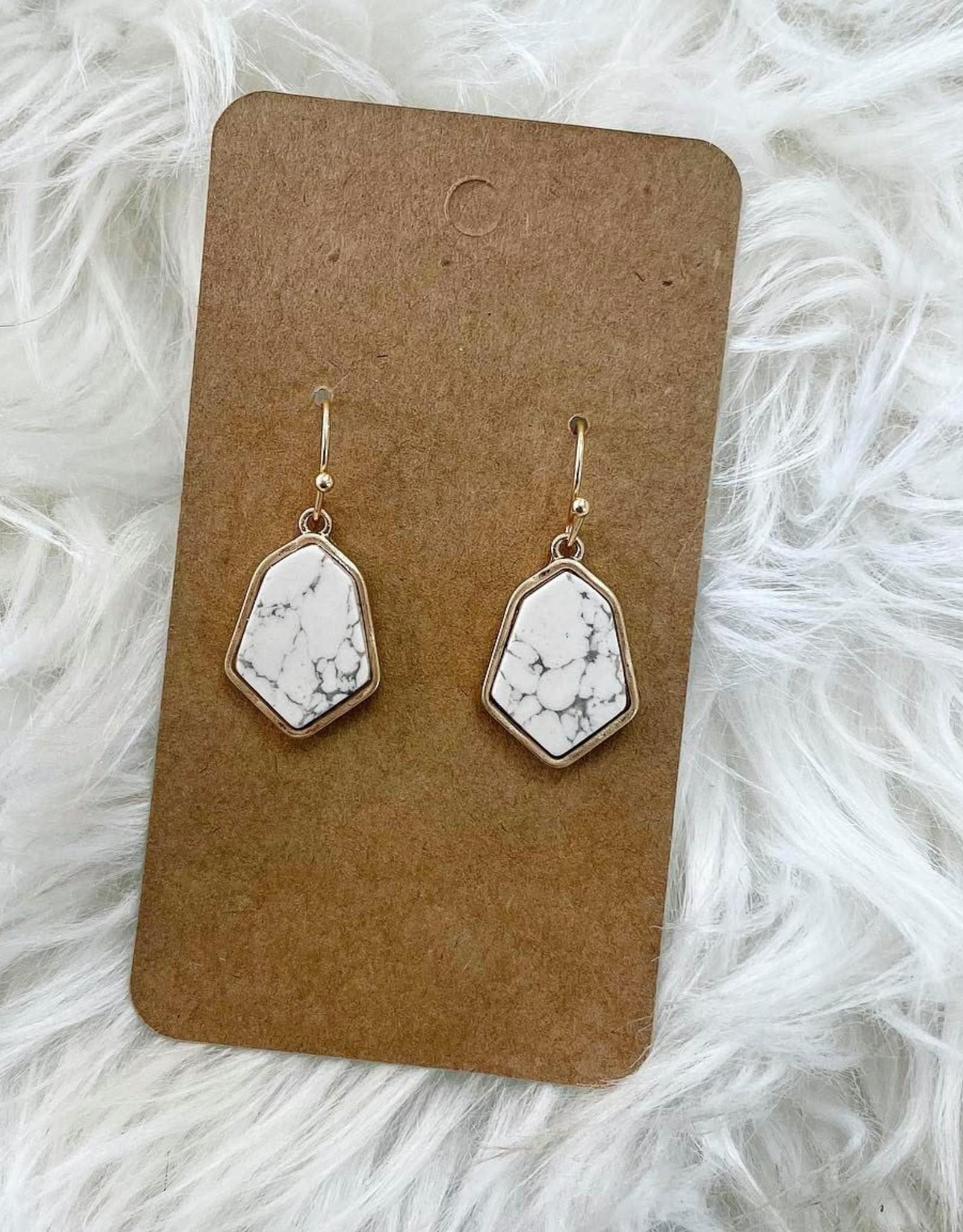 Hexagon Stone Earring in White
