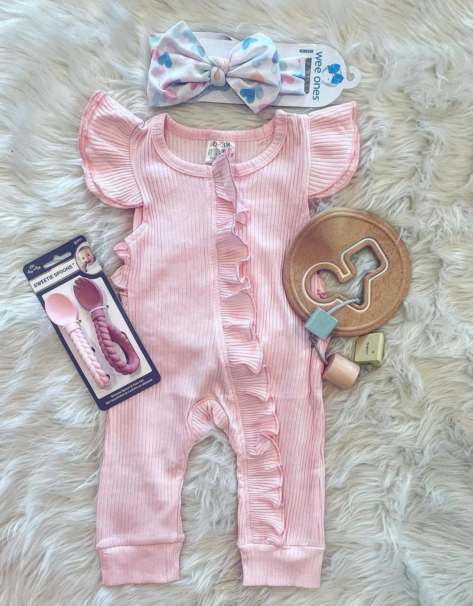Sadie Ruffle Romper in Pink