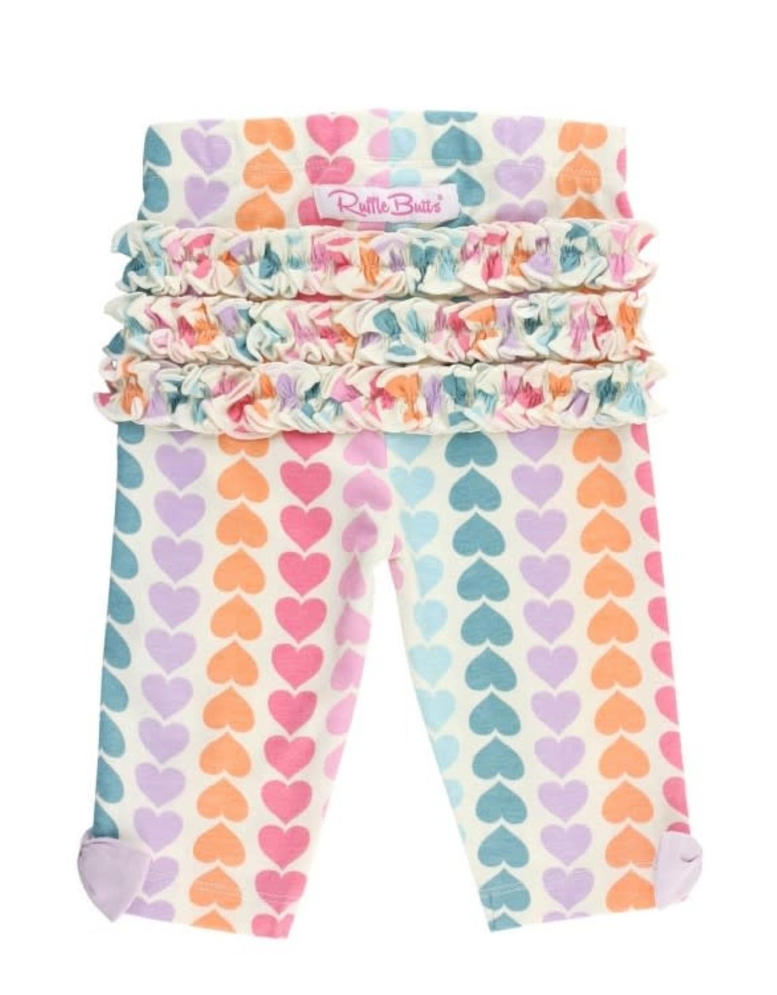 RuffleButts Soft Lilac Flutter DressW/Rainbow Hearts Capri Leggings