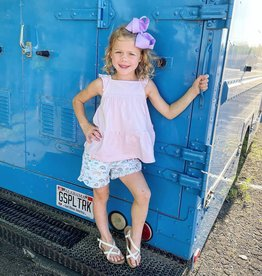 RuffleButts Soft Lilac Tiered Tank Top W/Rainbows Ruffle Trim Shorts
