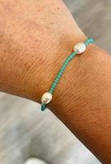 Freshwater Pearl & Bead Bracelet in Mint