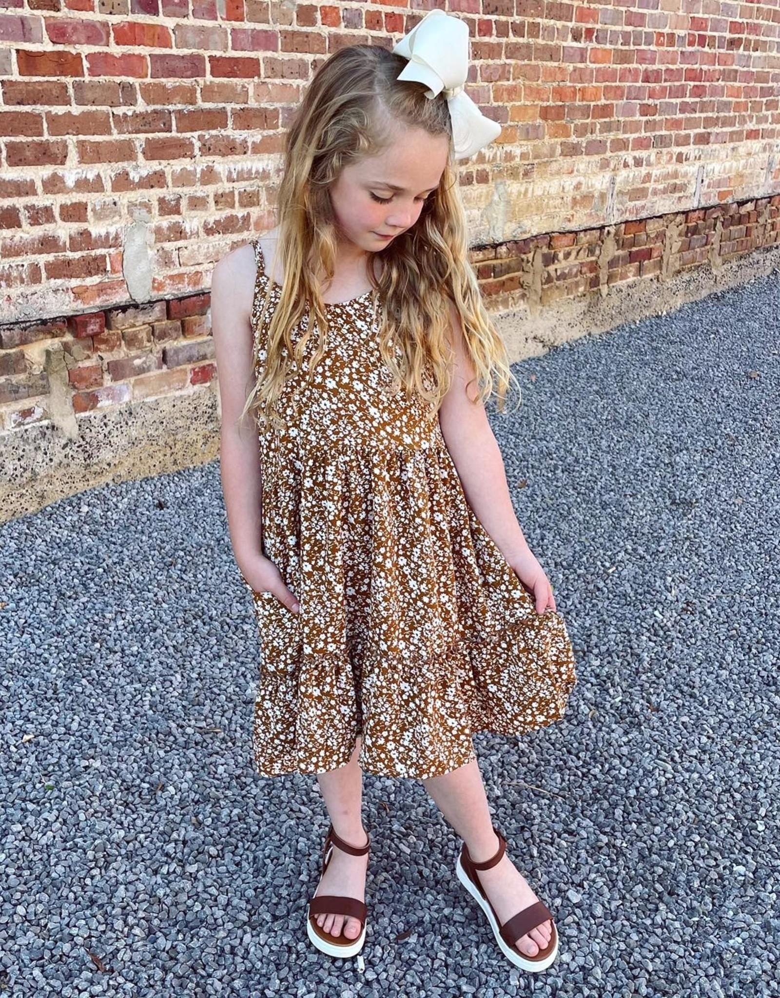 Hayden Harleigh Floral Print Dress in Mustard