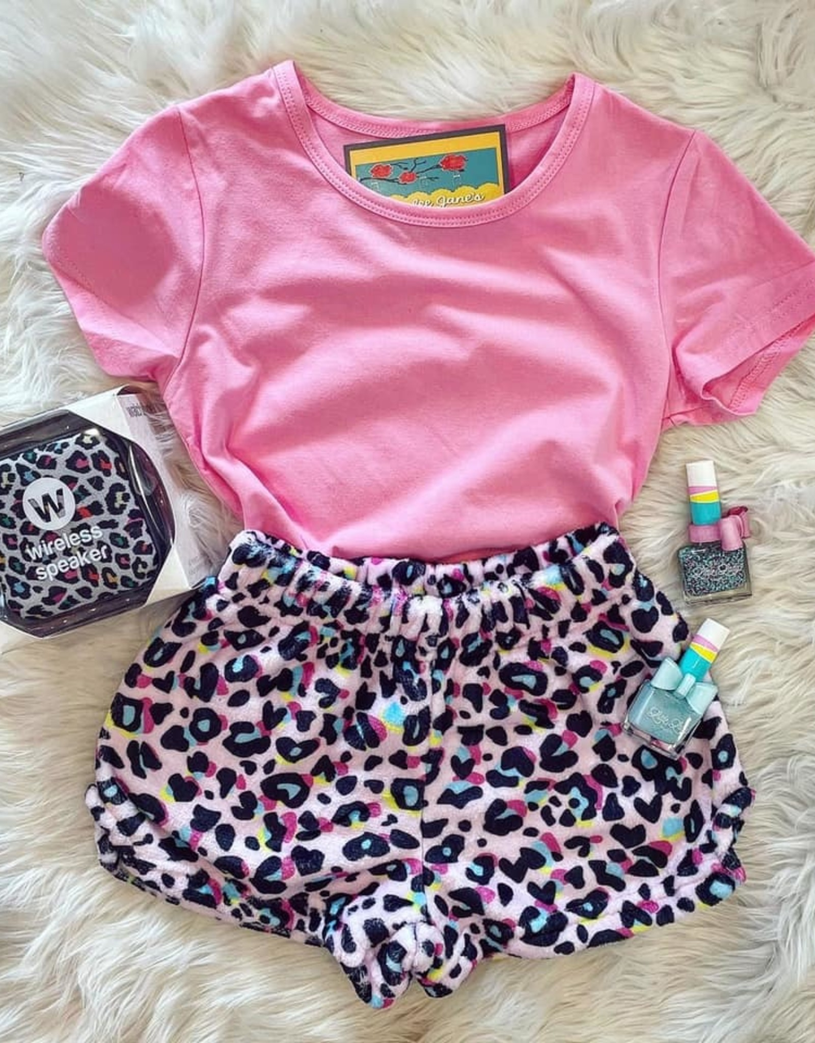 Iscream Pink Leopard Plush Shorts