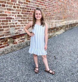 For All Seasons Mallory Tank Dress in Blue Stripes