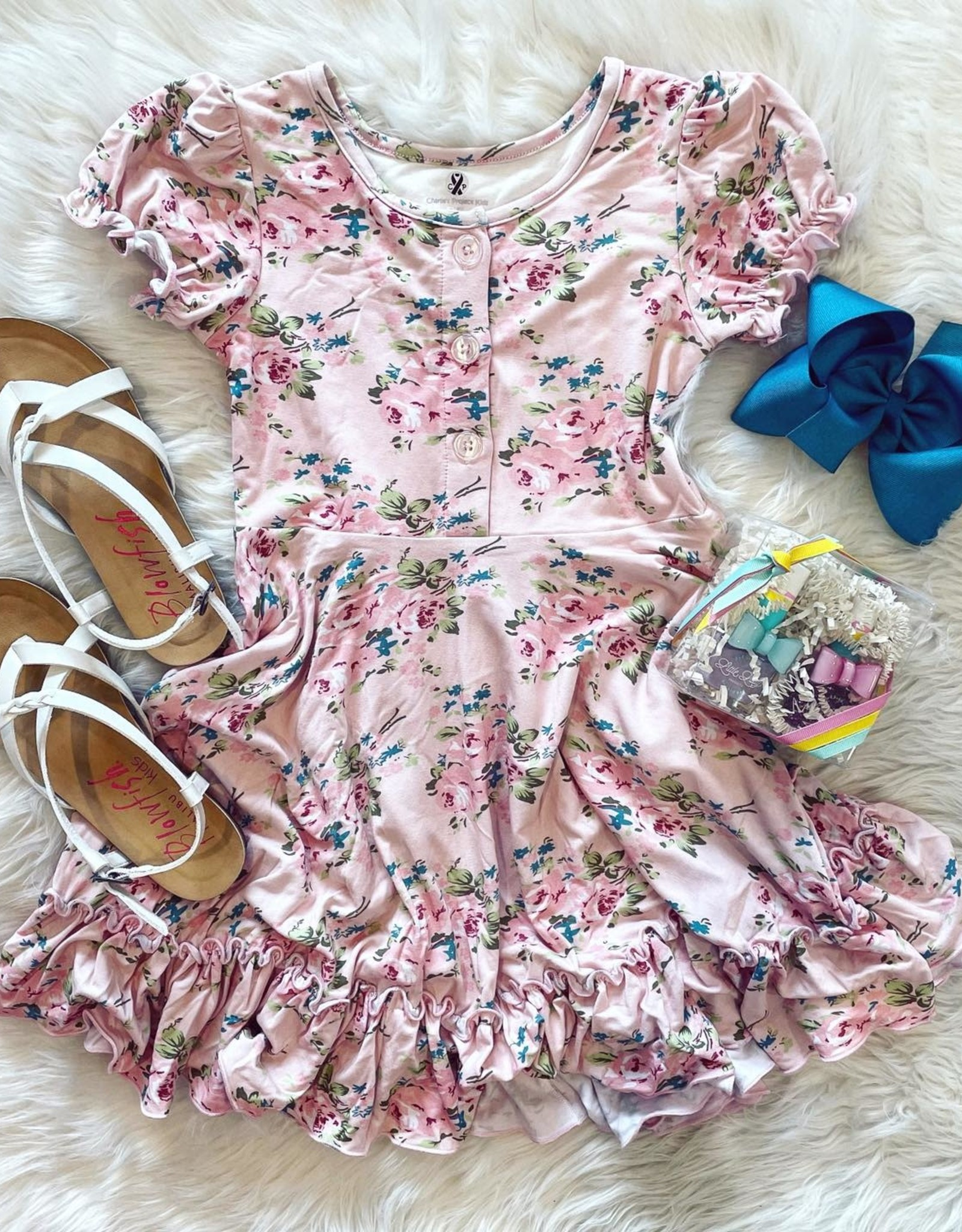 Charlies Project Country Cabbage Rose Short Sleeve Twirl Dress