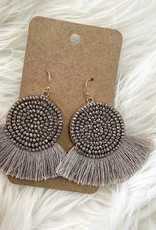 Bead Disk Earring in Taupe