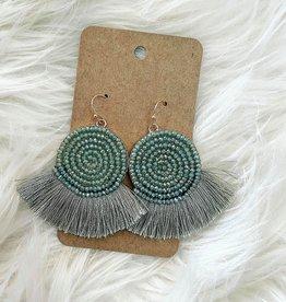 Bead Disk Earring in Mint