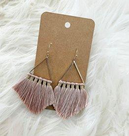 Triangle Tassel Earring in Blush