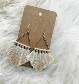 Triangle Tassel Earring in Ivory