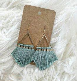 Triangle Tassel Earring in Mint