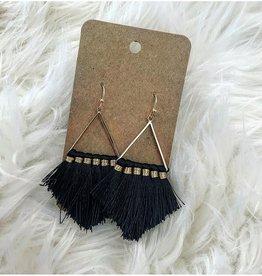 Triangle Tassel Earring in Black