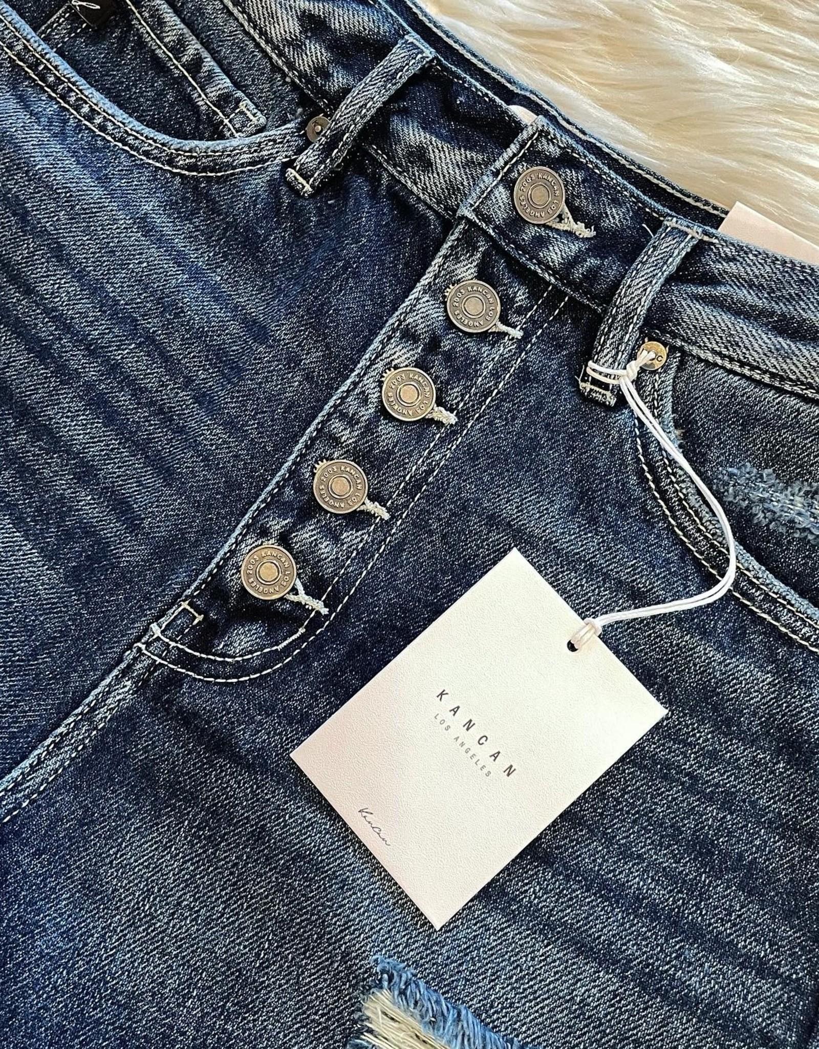 KanCan Brooke High Rise Button Down Shorts