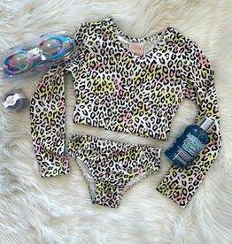 Quimby Pink Leopard Rash Guard Bikini