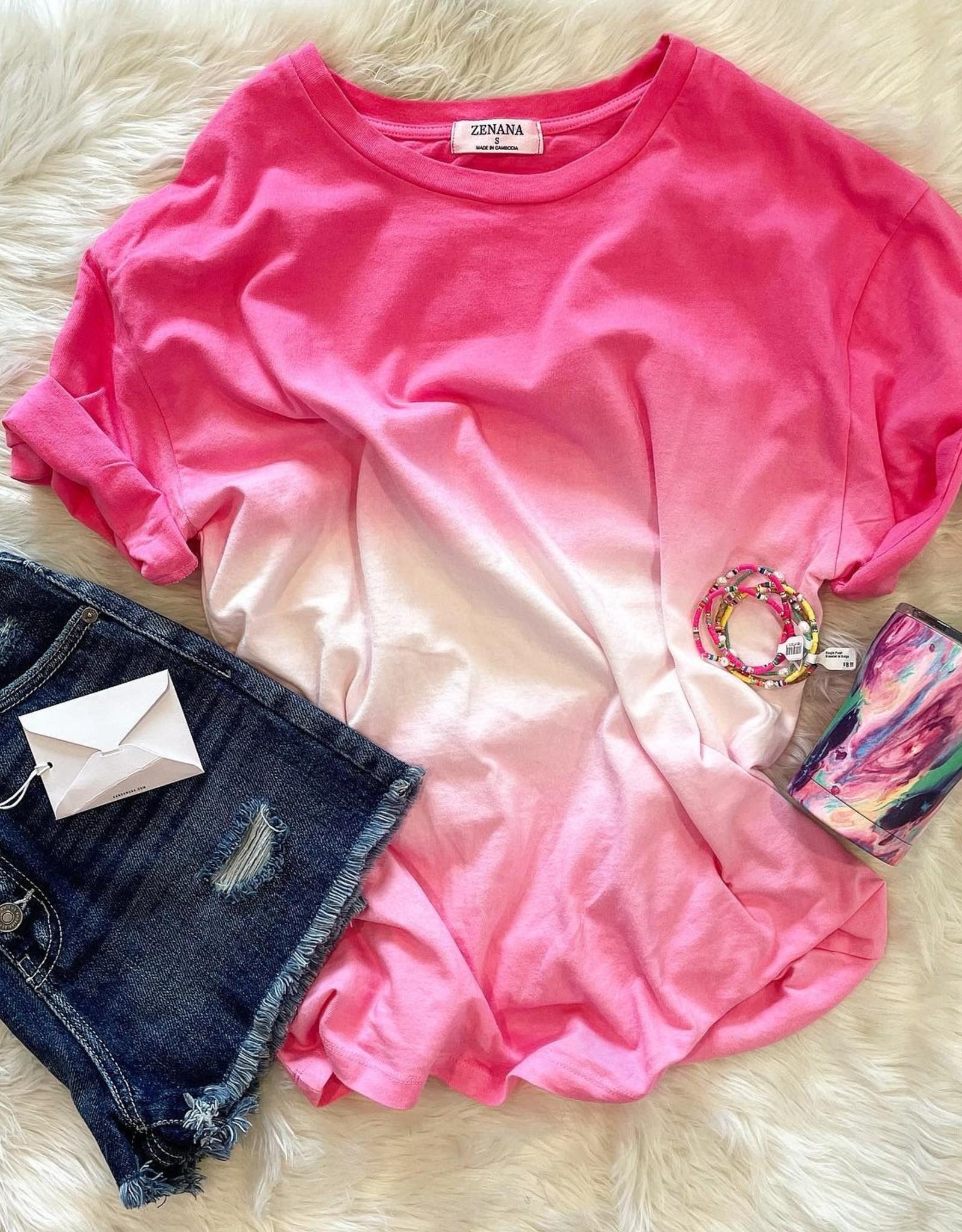 zenana Fallon Ombre Tee in Pink
