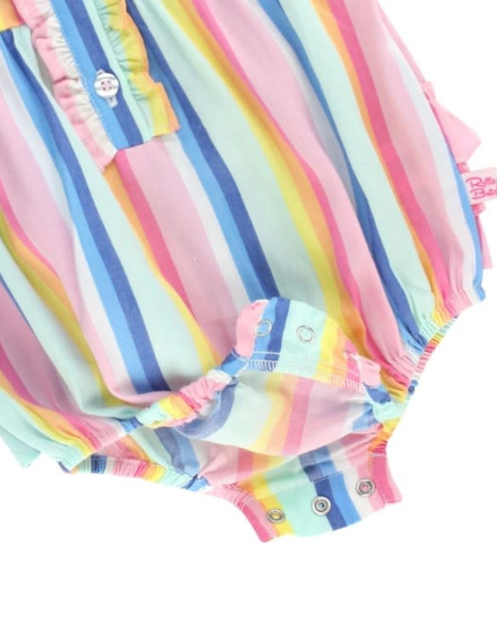 RuffleButts Playful Stripe Ruffle Placket Bubble Romper