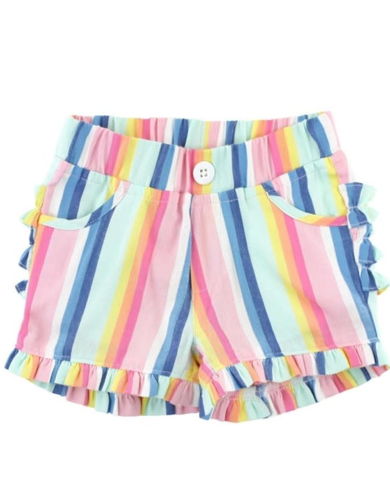RuffleButts Playful Stripe Ruffle Shorts