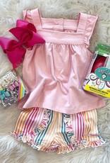 RuffleButts Daydream Stripe Ruffle Shorts
