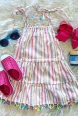 Honeydew Laney Dress in Rainbow Stripe