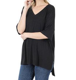 zenana Tiffany V Neck Top in Black