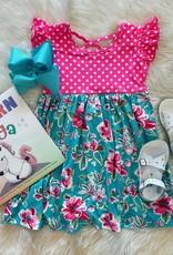 Charlotte Dress in Pink Polka Dot