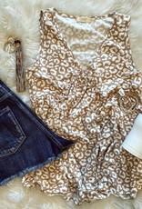 Brianna Sleeveless Leopard Top in Cream