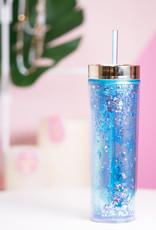 Glitter Skinny Tumber in Blue - 16oz.
