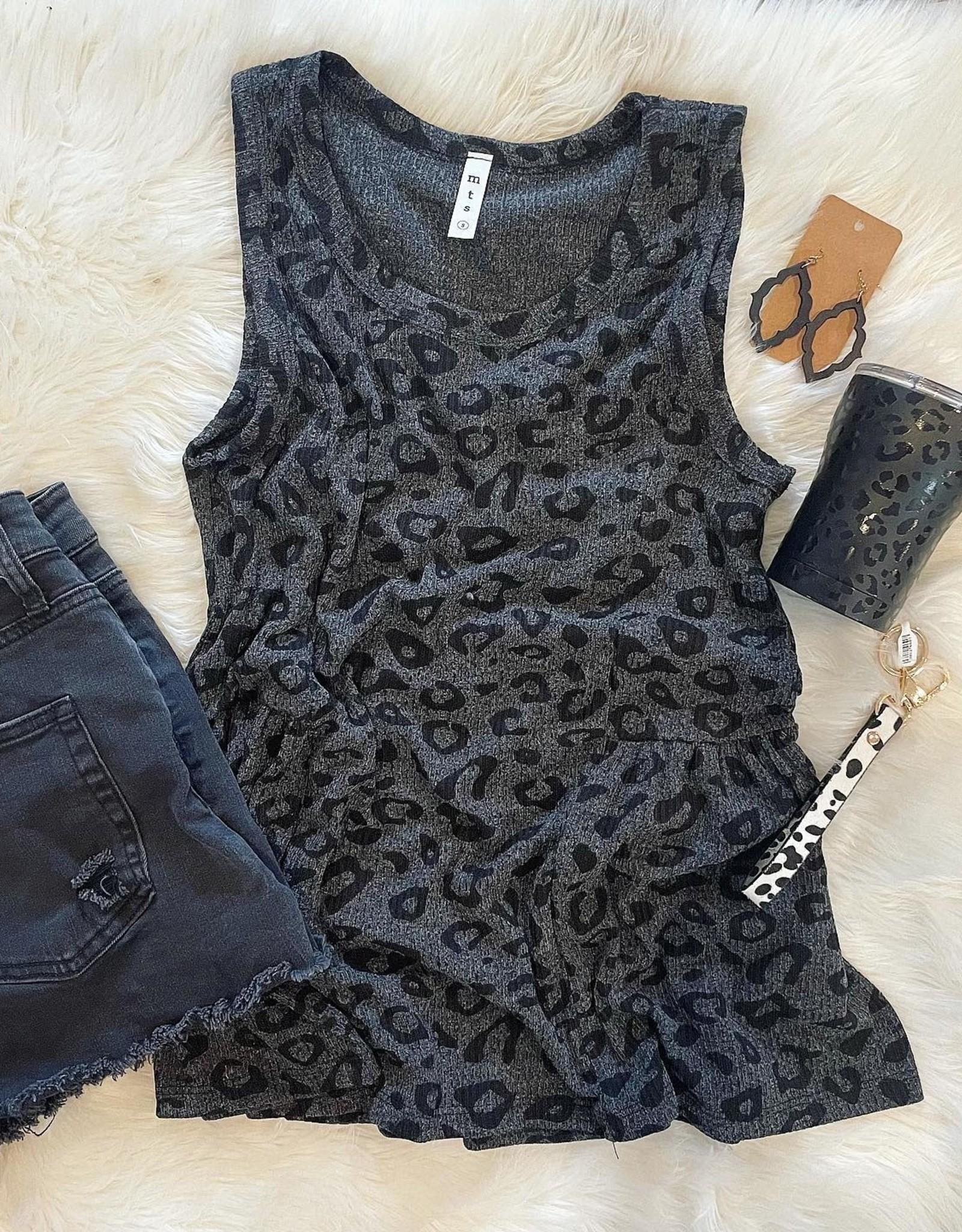 Annabelle Leopard Tank in Black