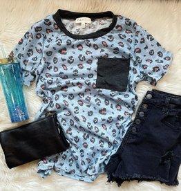 Hannah Leopard Pocket Top in Blue