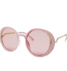 Zomi Gems Pink Round Crystal Sunglasses