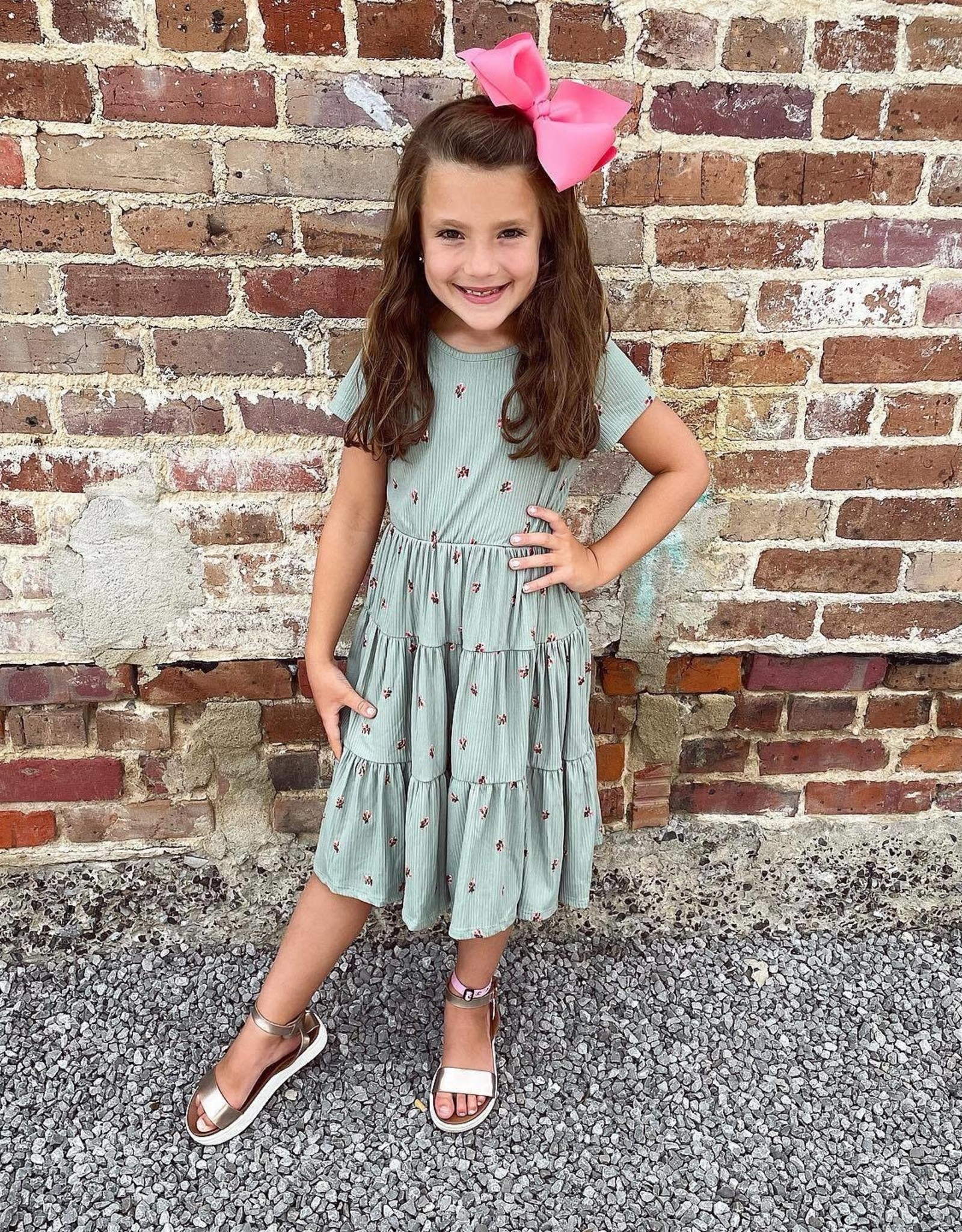 Abby Floral Dress in Sage