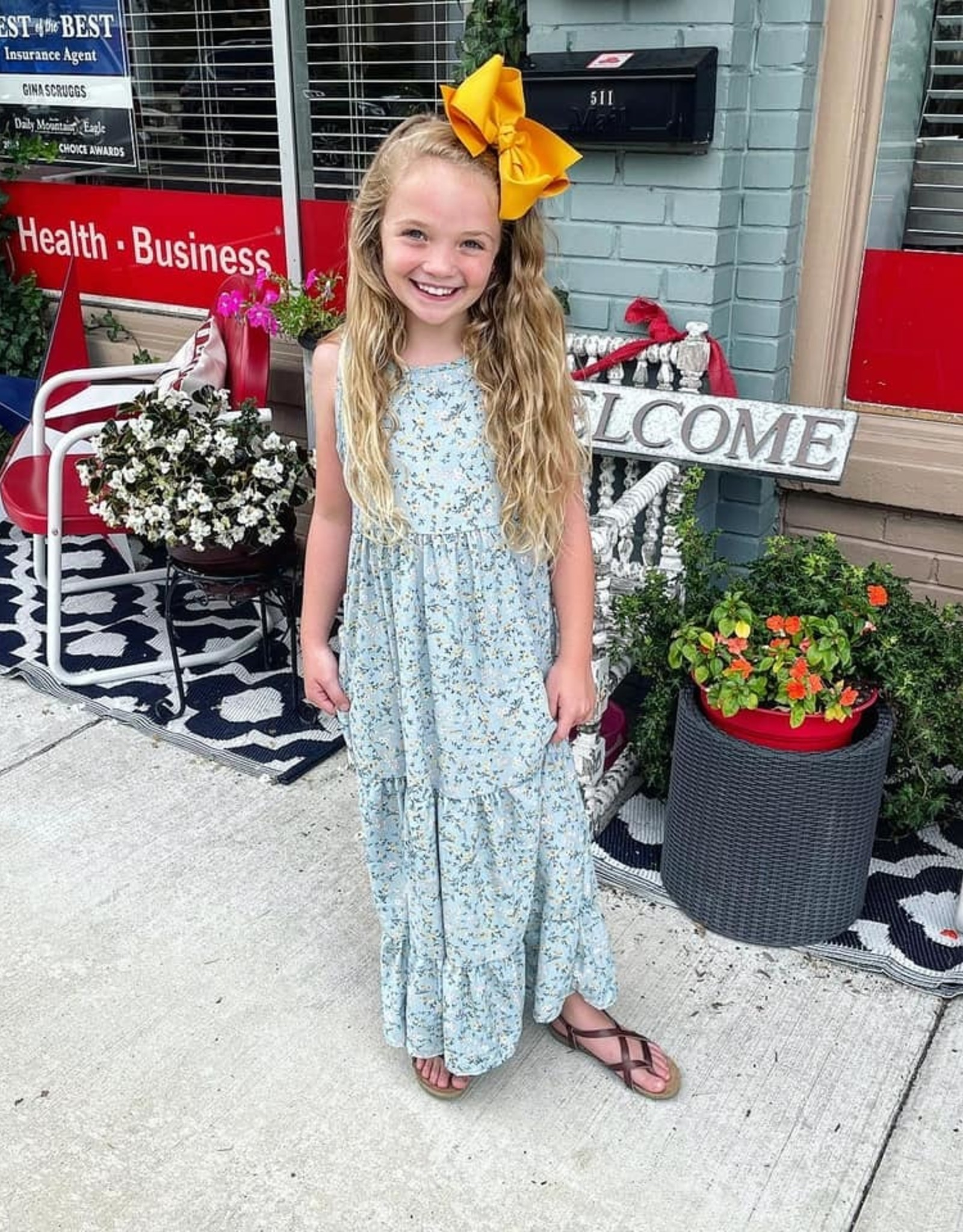 Kate Maxi Dress in Blue Floral