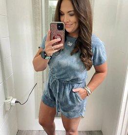 Maria Romper in Blue TieDye