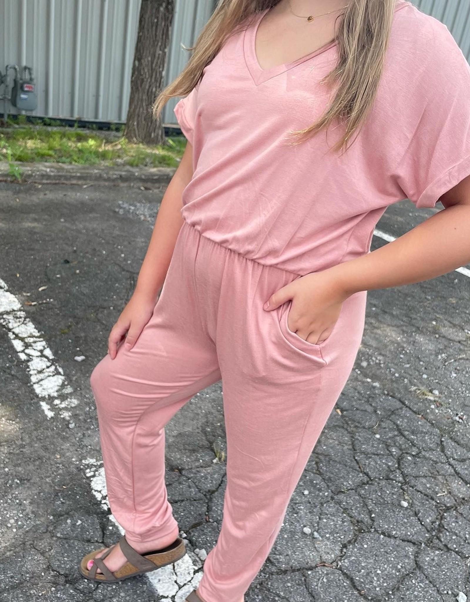 Good Girl Addison Jumpsuit in Blush