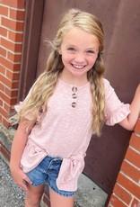 Hayden Peyton Ruffle Sleeve Knit Henley Tunic in Blush