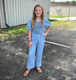 Hayden Lilah Smocked Jumpsuit in Light Denim
