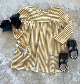 Honeydew Savannah Dress in Mustard Stripe