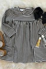 Honeydew Savannah Dress in Black Stripe