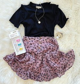 Hayden Mallory Collar Knit Top in Black